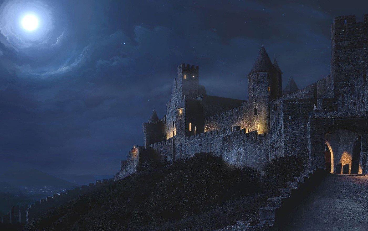 всему, картинки фэнтези ночь луна замок выступ