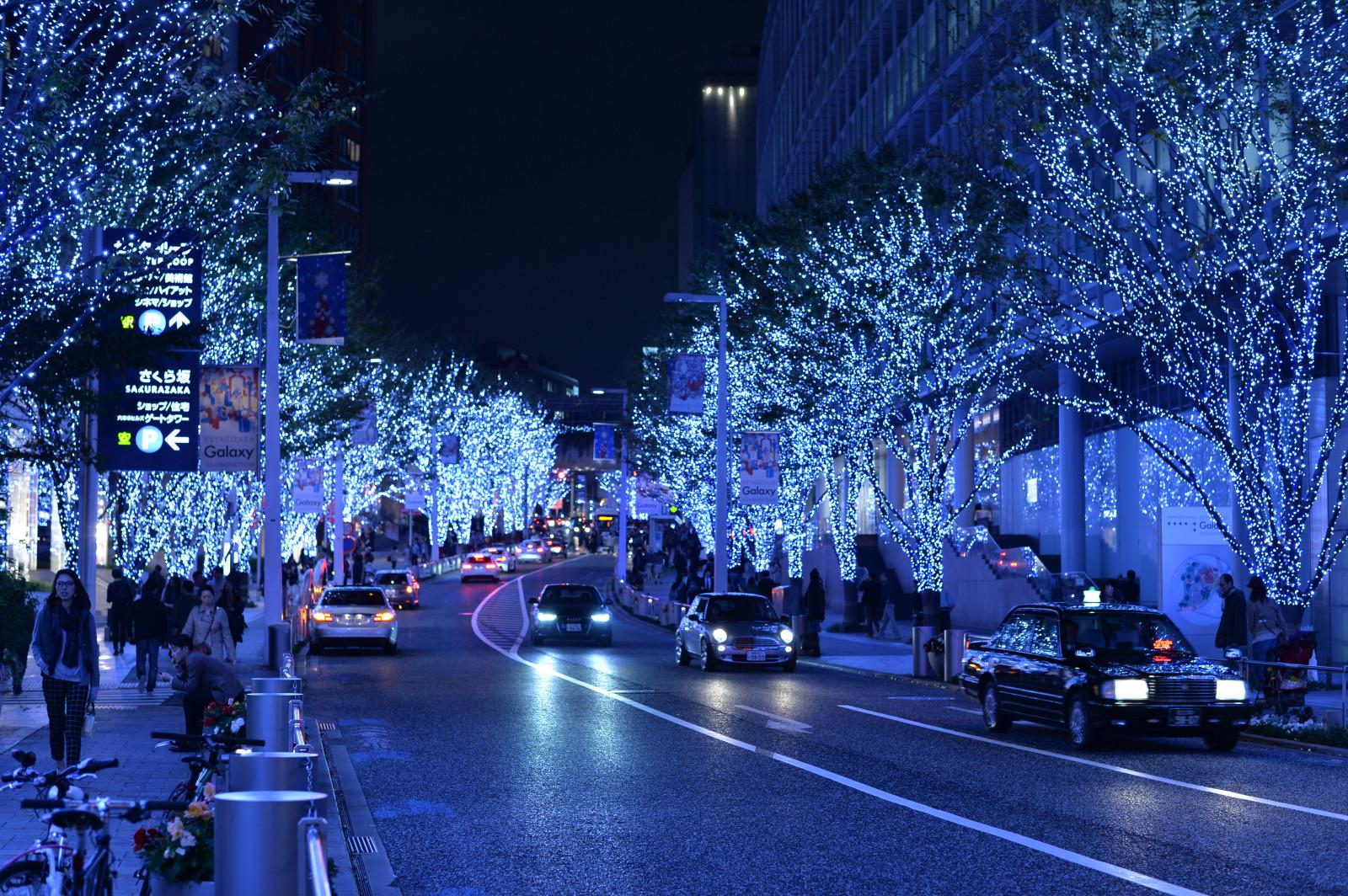 Fond d 39 cran japon paysage urbain nuit neige hiver for Decoration zone