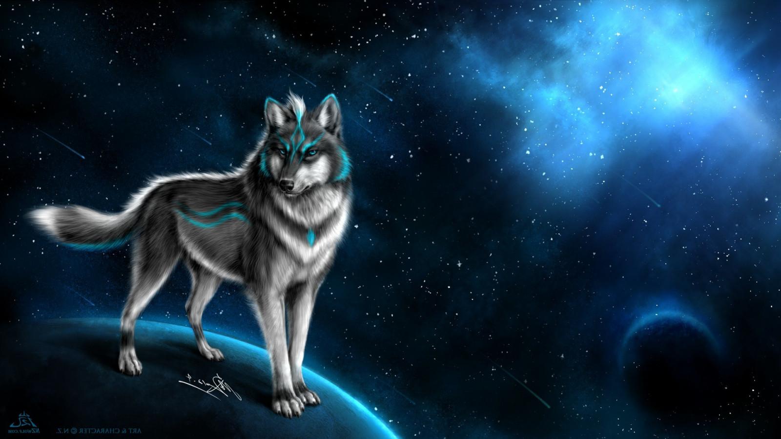 ilustrace zvěř fantasy umění space art vlk půlnoc Snímek obrazovky 1920x1080 px počítač tapeta fiktivní postava vesmír