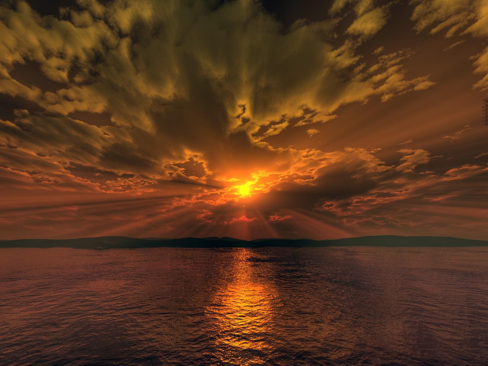 Wallpaper Sinar Matahari Matahari Terbenam Laut 3D