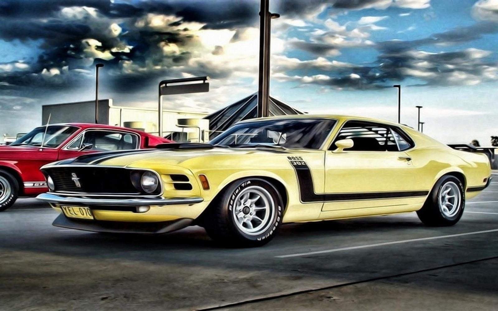 Fond d'écran : dessin, véhicule, des nuages, Ford Mustang ...