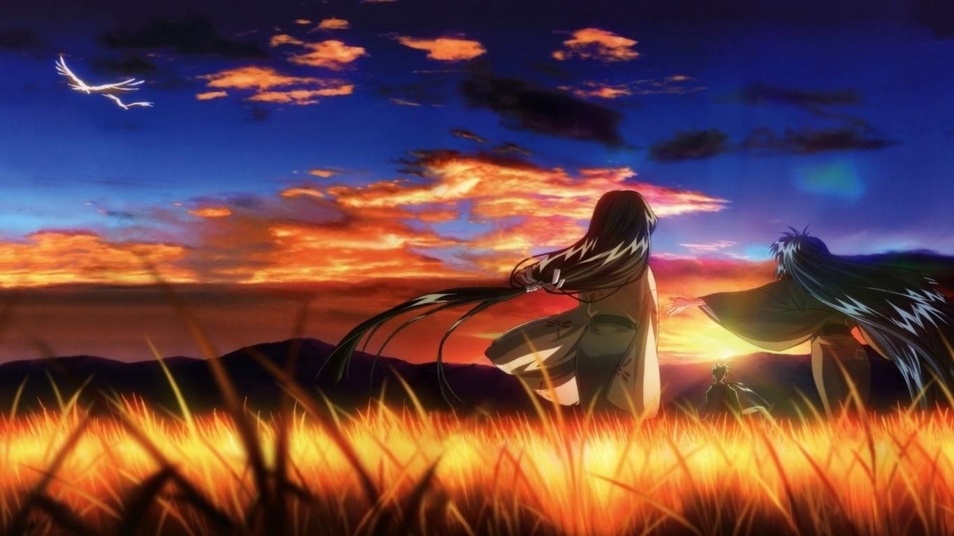Wallpaper Sunlight Sunset Anime Field Sunrise Evening