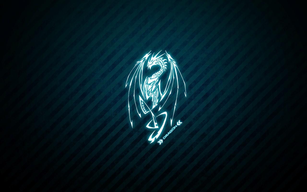 Картинки синий неоновый дракон