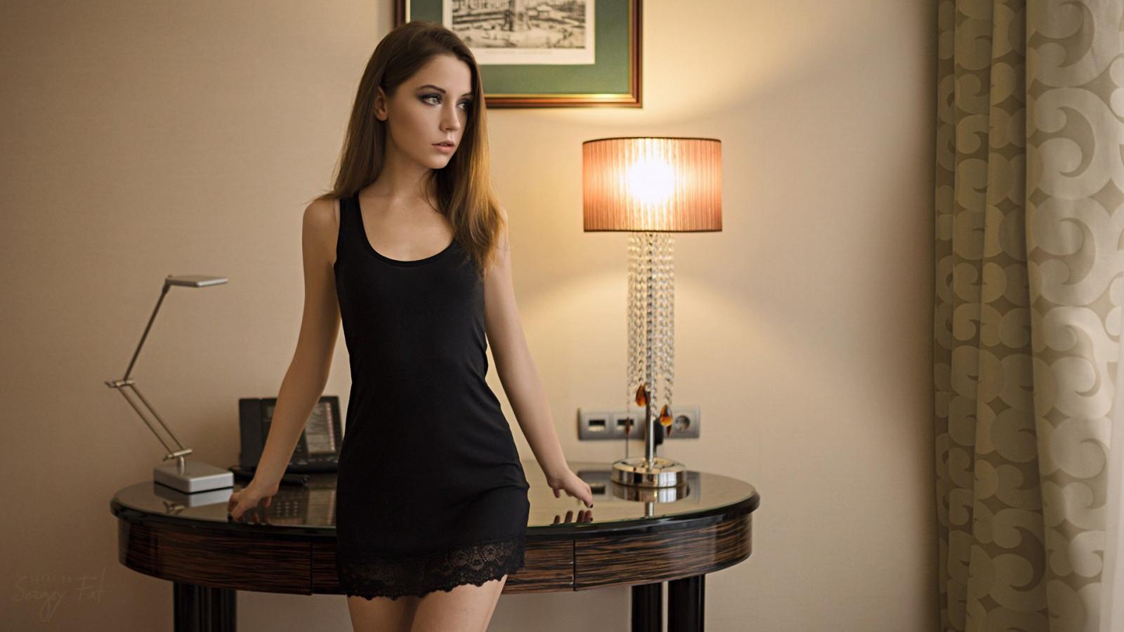 Wallpaper  Women, Portrait, Black Dress, Brunette, Room, Sergey Fat, Ksenia Kokoreva -8273