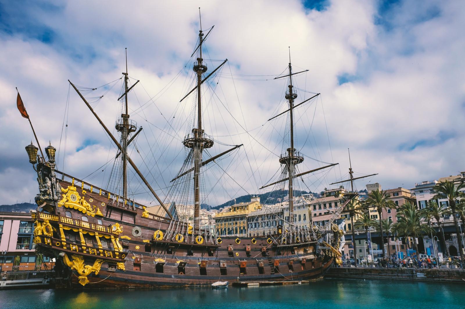 Fond d 39 cran gens bateau voile mer italie ciel - Voile bateau pirate ...