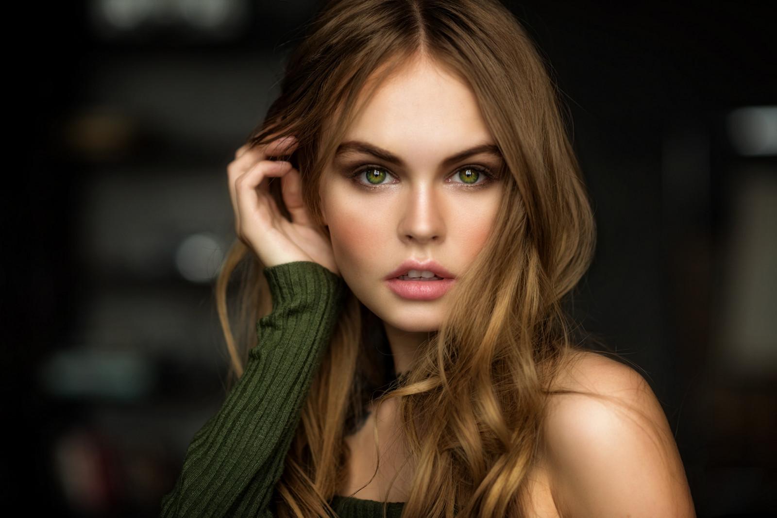 women, Anastasia Scheglova, green eyes, blonde, model, face, portrait