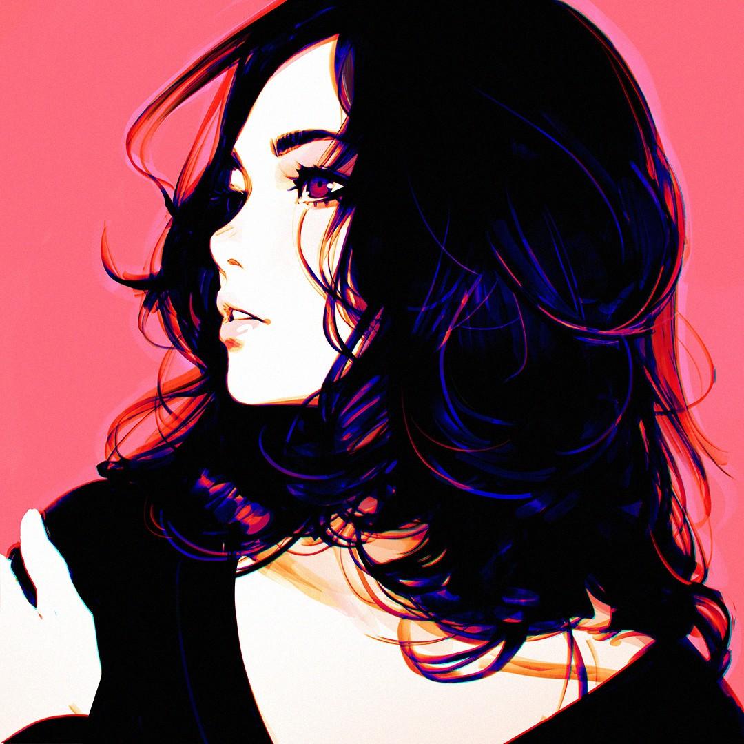 wallpaper illustration long hair artwork black hair graphic