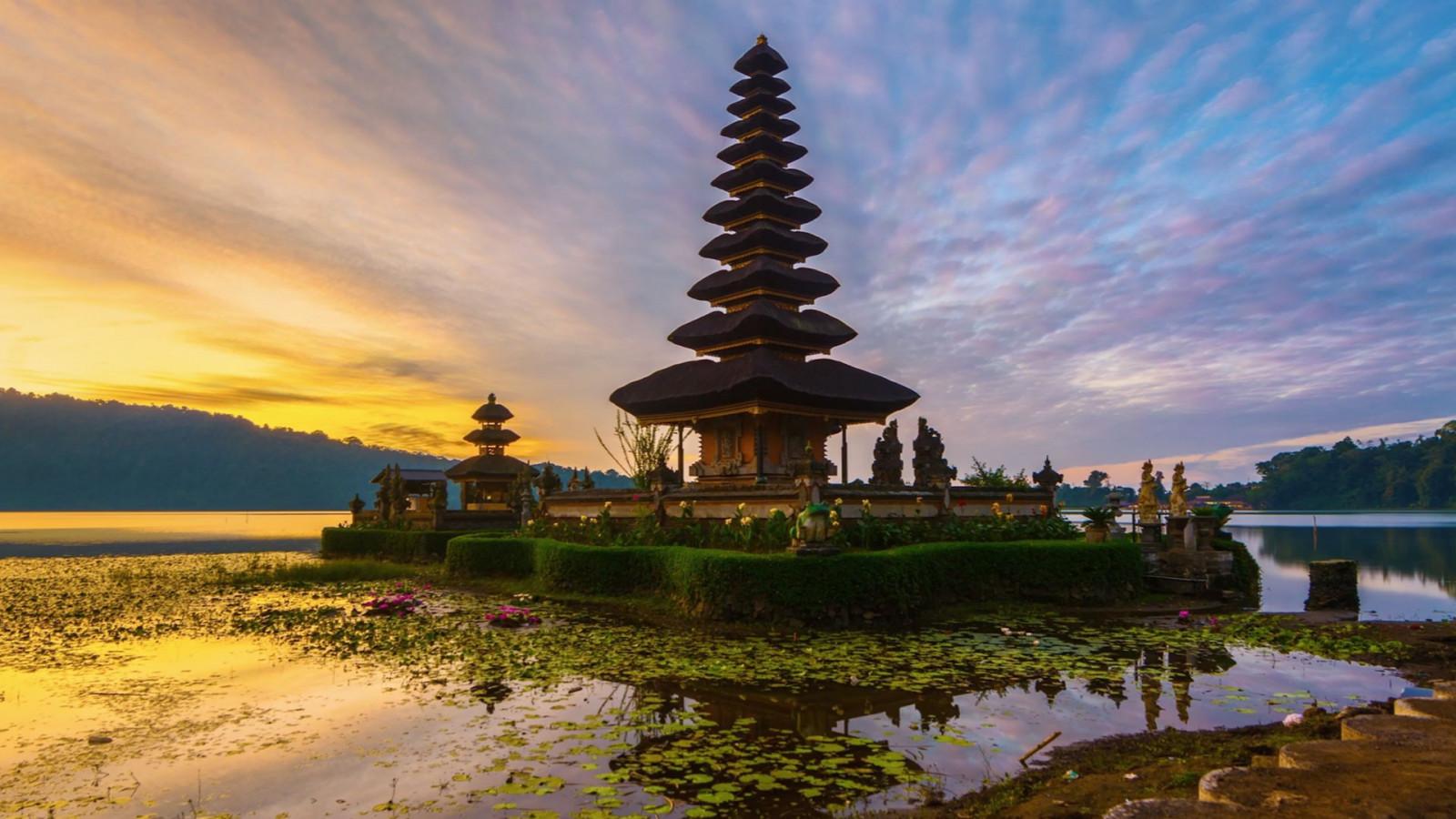 デスクトップ壁紙 寺院 木 風景 森林 日没 海 アジアの建築
