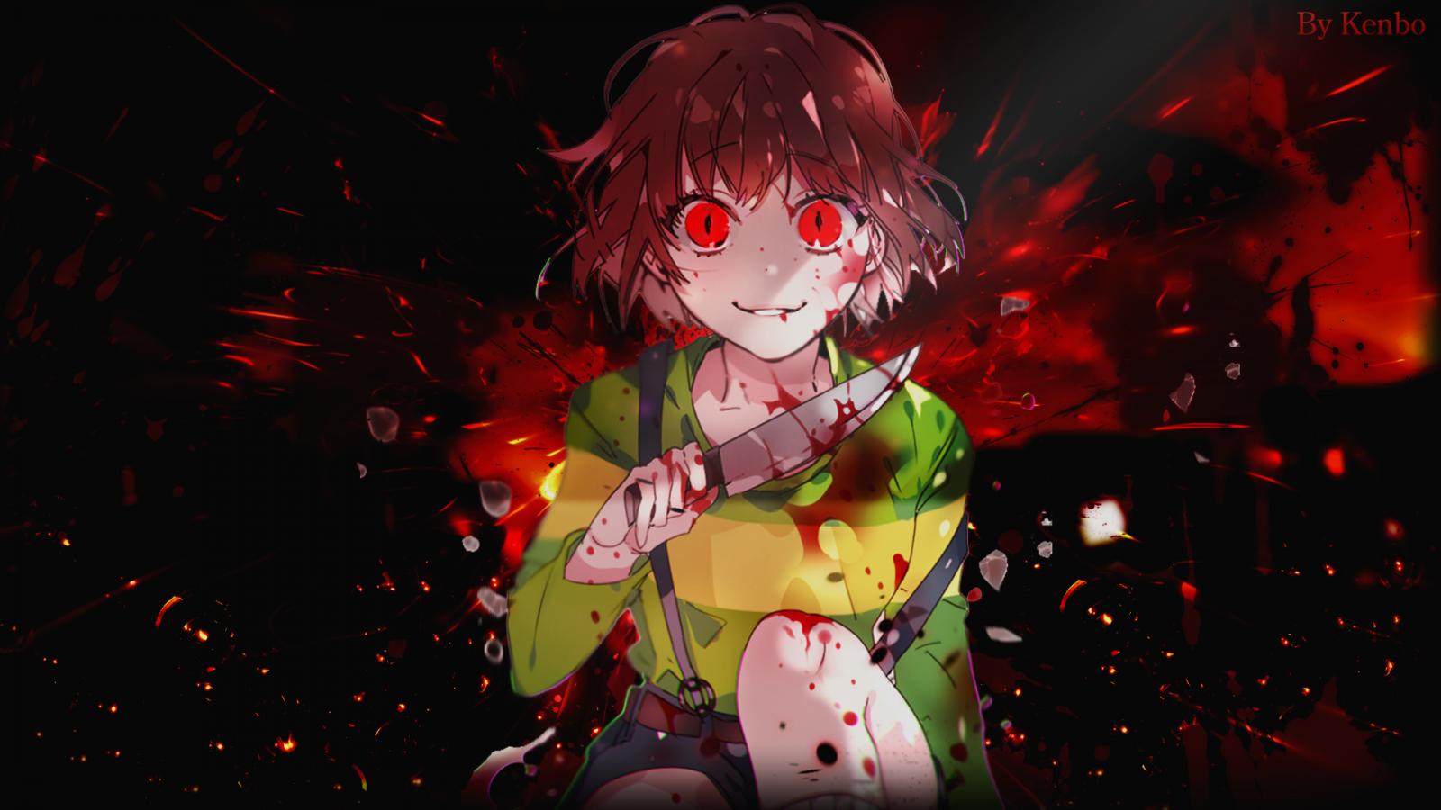Wallpaper : yandere, anime girls, manga, Anime Game, blood ...