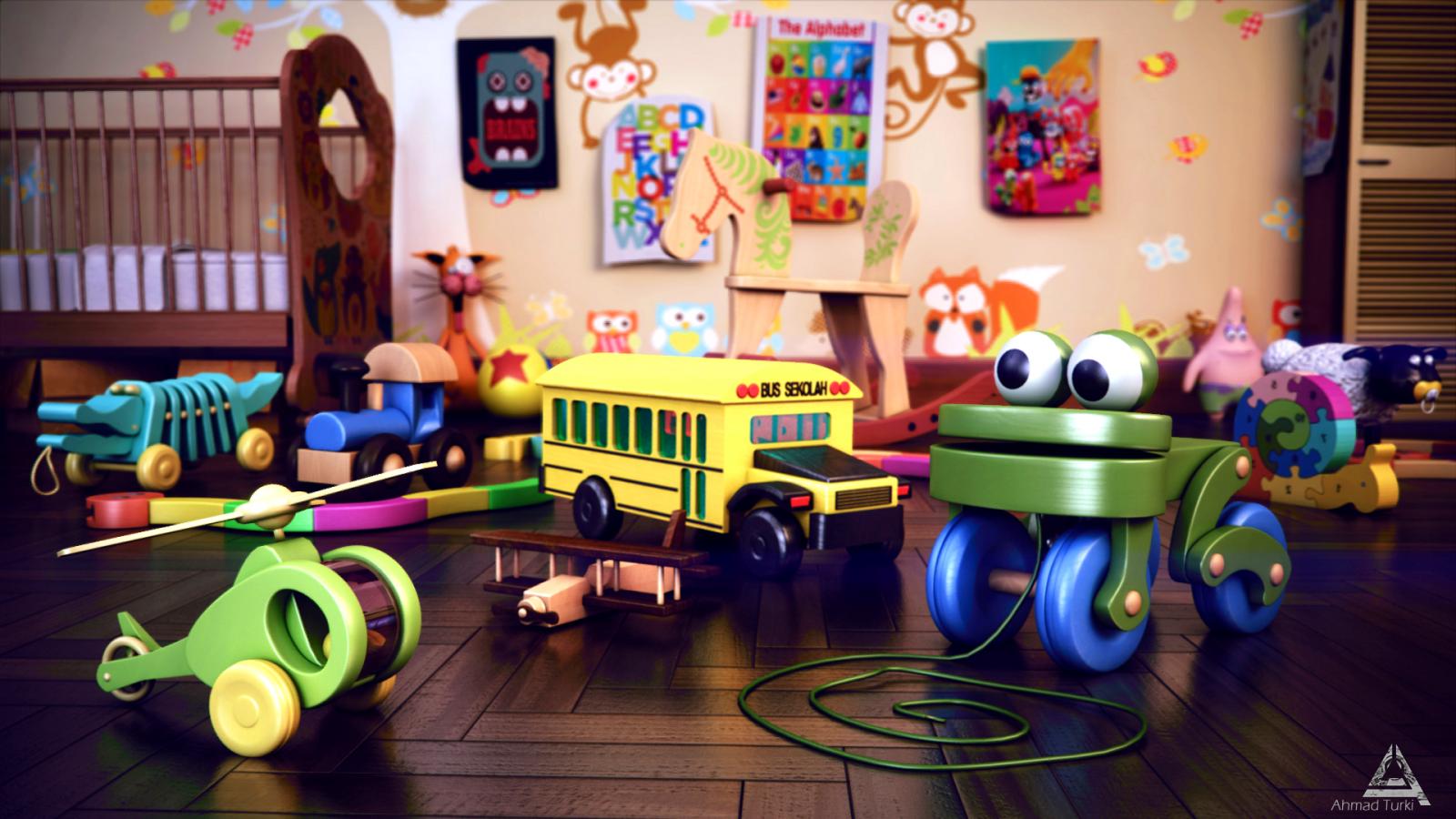 Картинка детской комнаты с игрушками, надписью ольга сергеевна