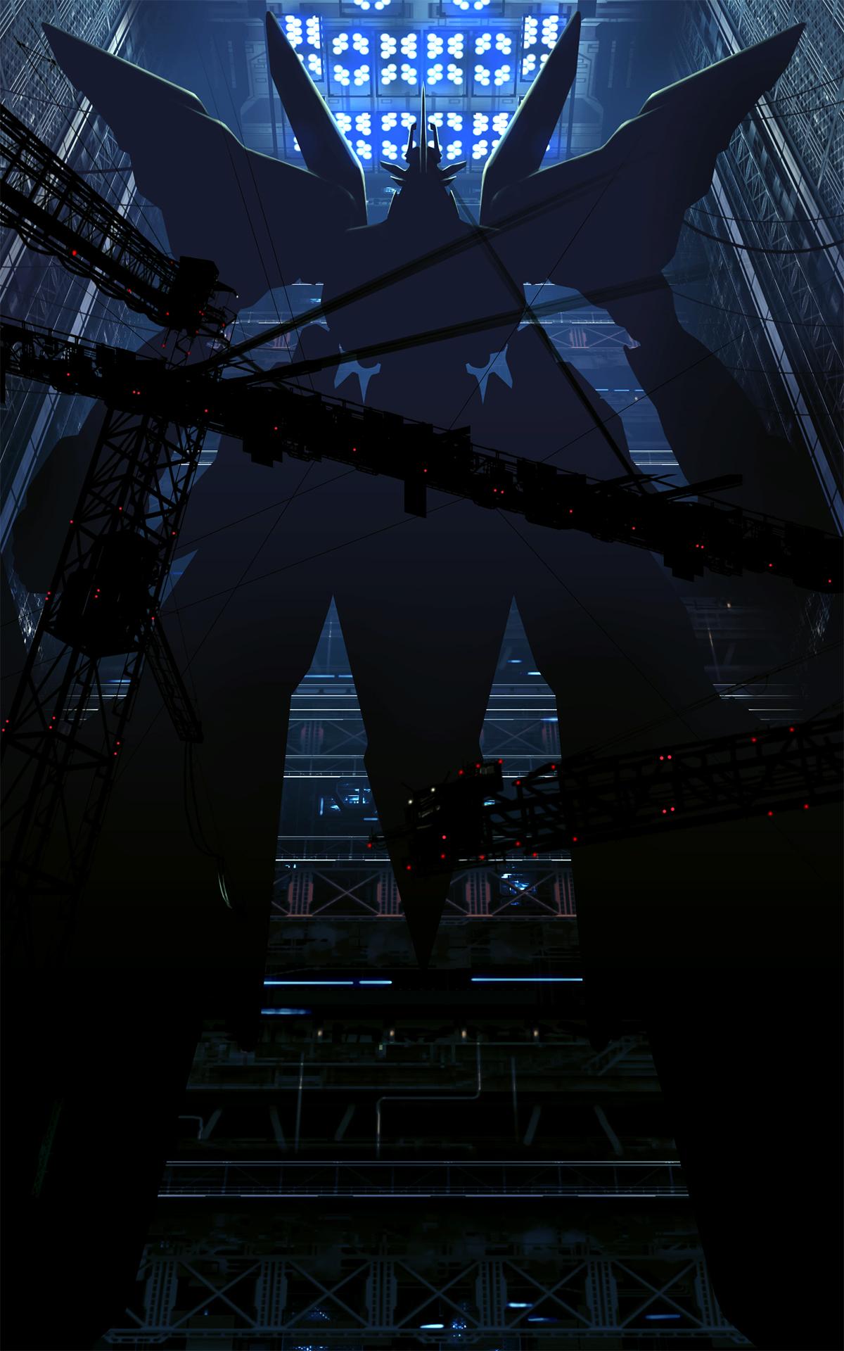 night anime reflection futuristic artwork symmetry skyscraper blue science fiction mech metropolis midnight light shape darkness