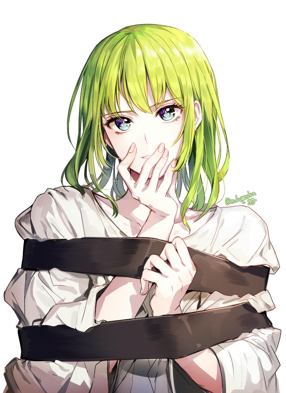 壁纸 命运系列 命运大秩序 动漫男孩 长发 2d 微笑 手在脸上 Enkidu Fgo 绿眼睛 绿色的头发 简单的背景 看着观众 垂直 粉丝艺术