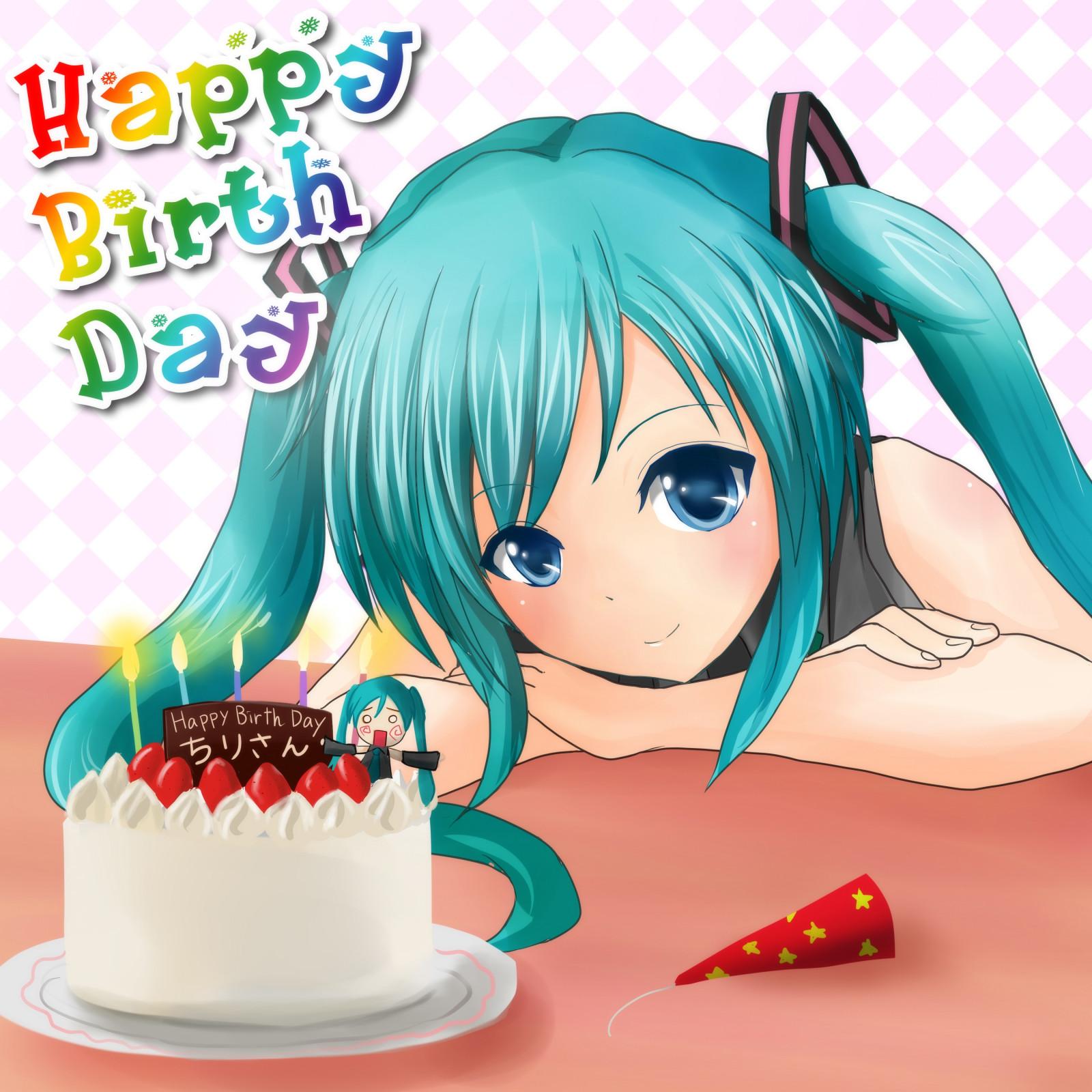 Красивые аниме картинки с днем рождения девушке, картинки дед