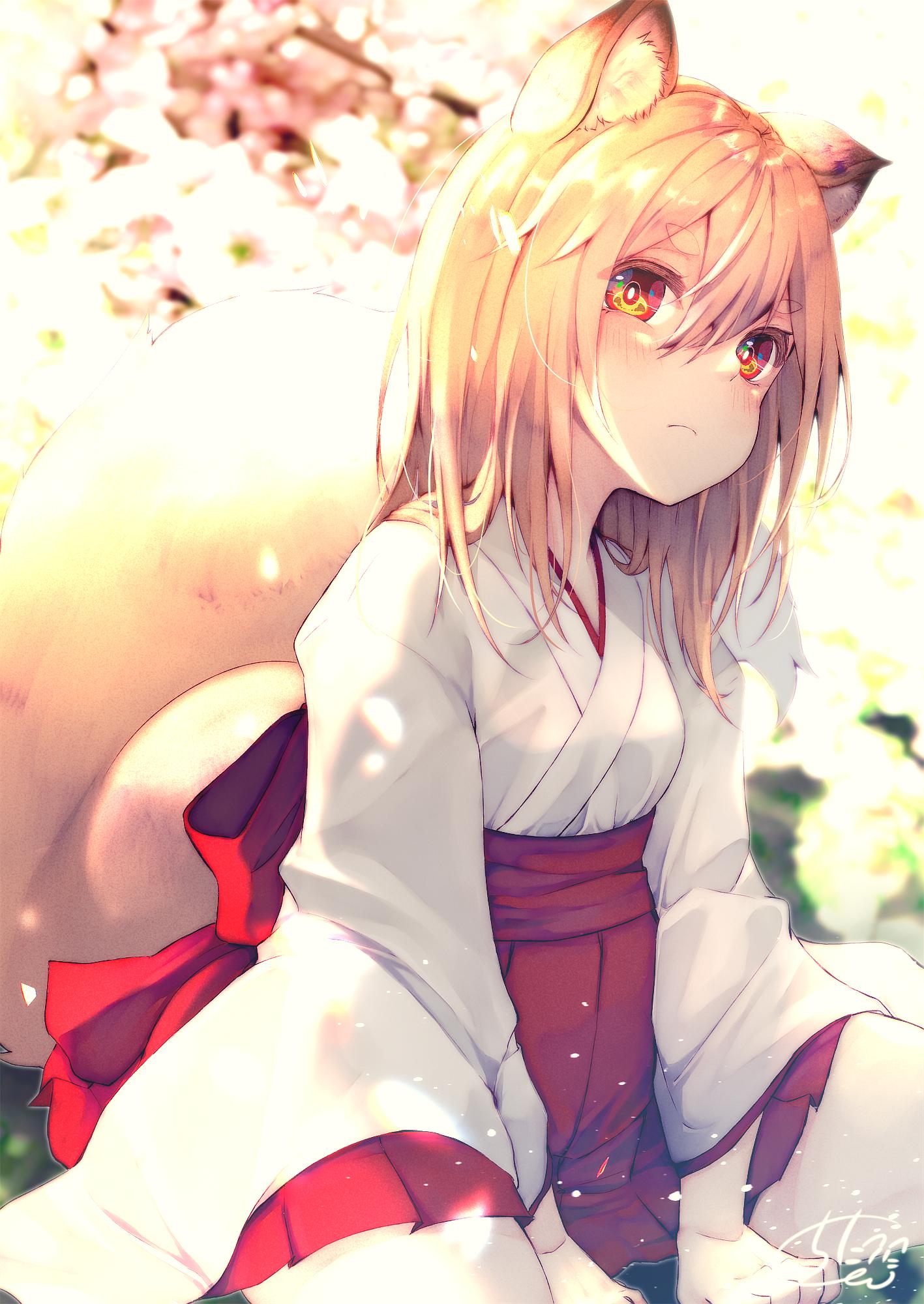 Safebooru - 1girl :3 animal ears blush character name