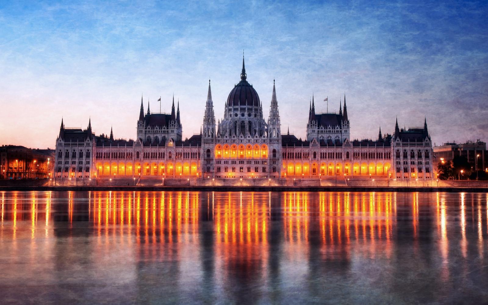 ハンガリー, ブダペスト, 夜, 議会, ライト, 光, 川, ドナウ川, 反射, HDR