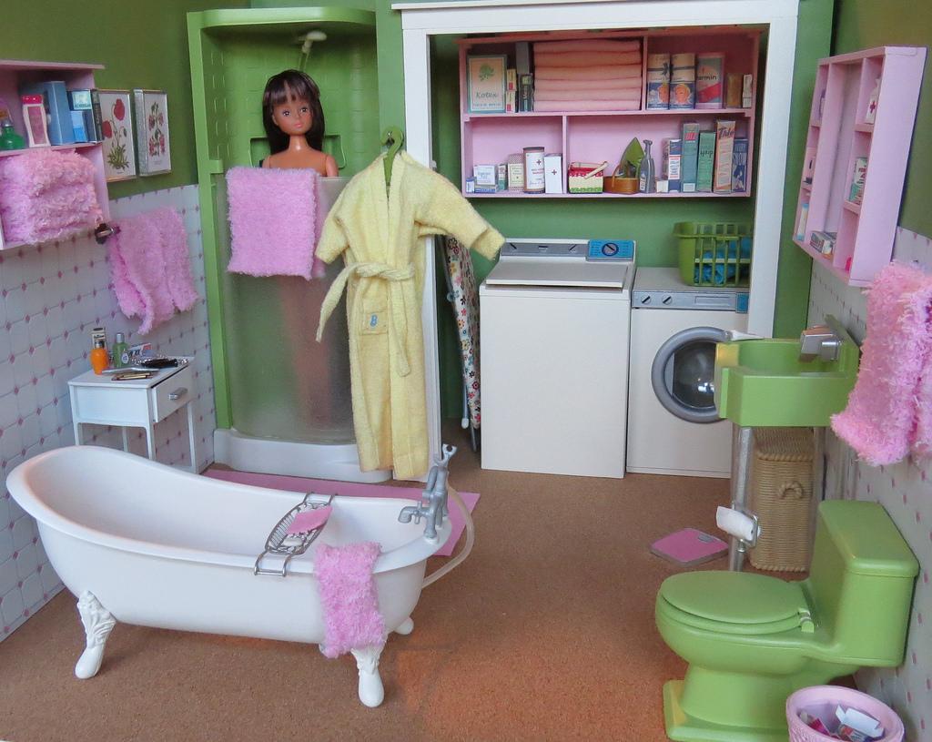 Salle De Bain Miniature ~ fond d cran rose vert cheveux salle de bains douche