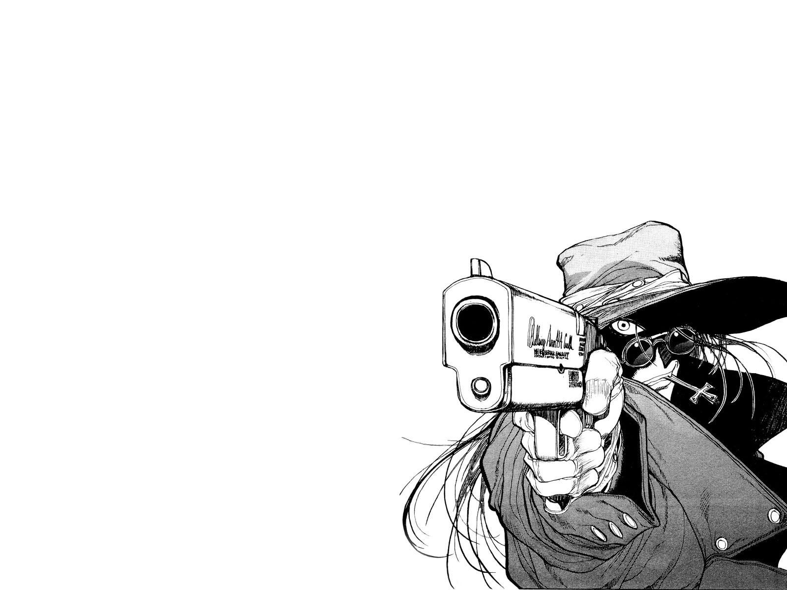 Gambar ilustrasi hellsing alucard manga gambar kartun sketsa