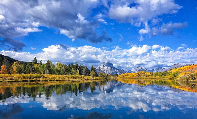 デスクトップ壁紙 風景 森林 秋 山々 湖 自然 反射 空 写真