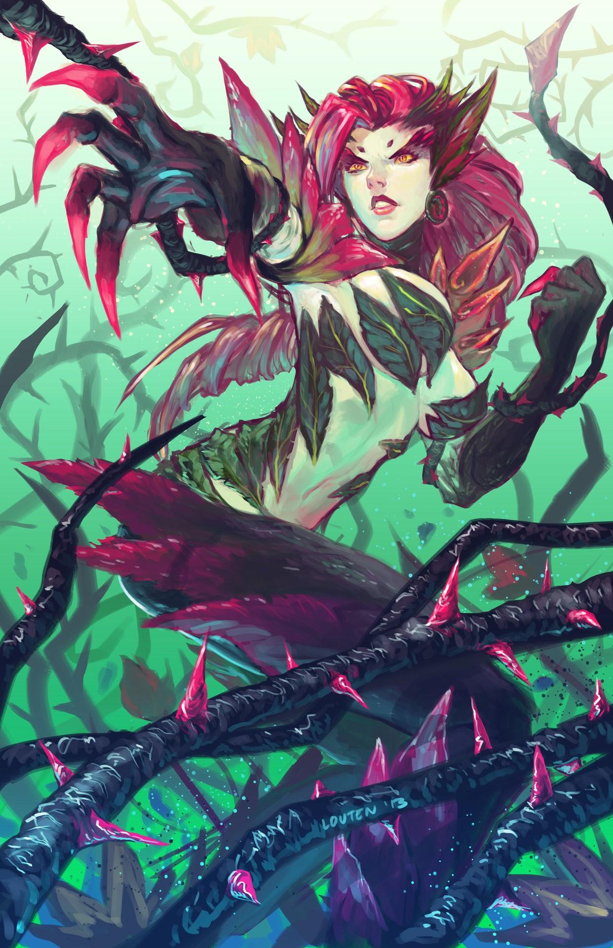 hình minh họa Anime liên minh Huyền Thoại Zyra hoa