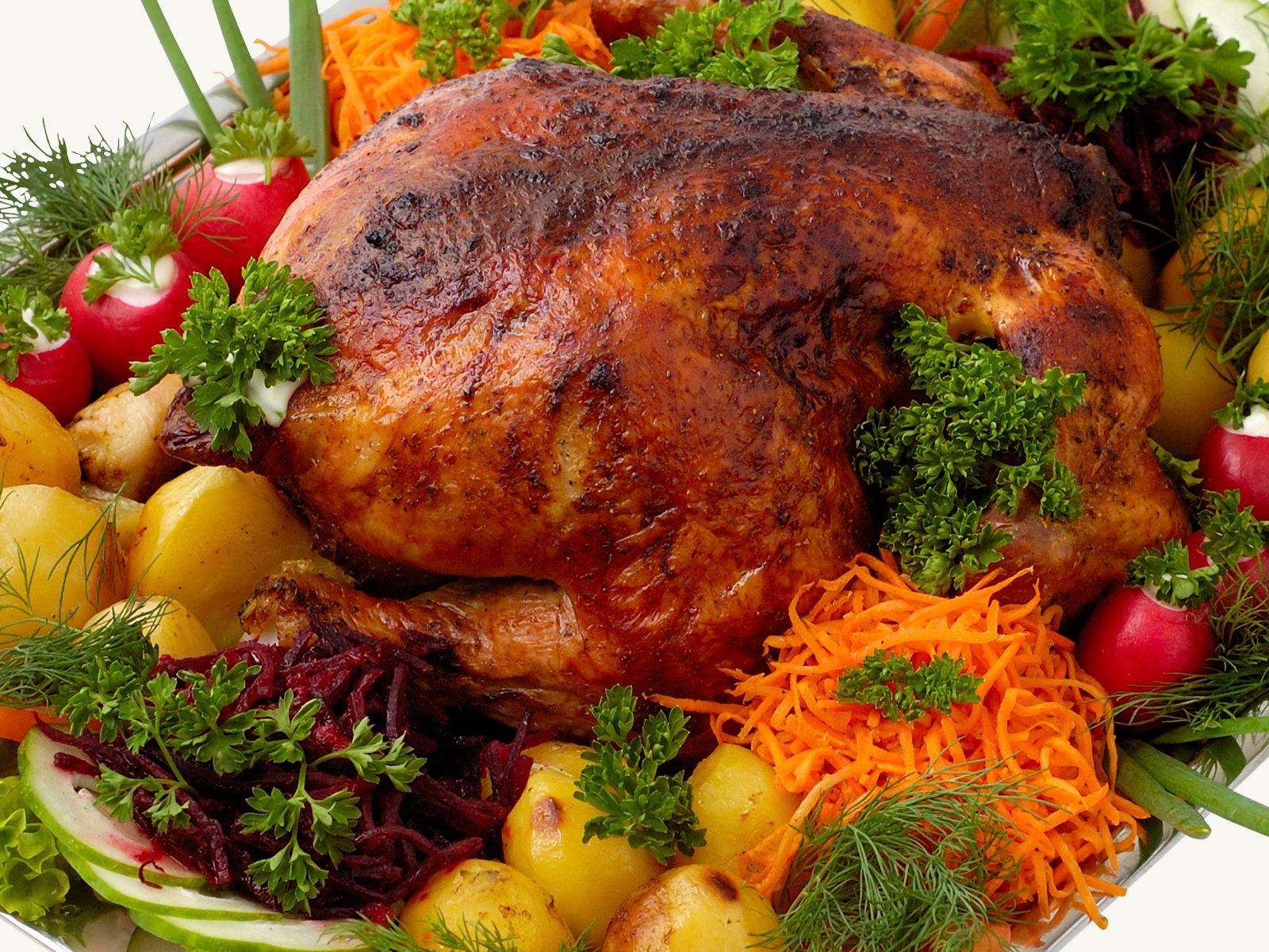 Weihnachtsessen Fleisch.Hintergrundbilder Lebensmittel Fleisch Gemüse Hähnchen