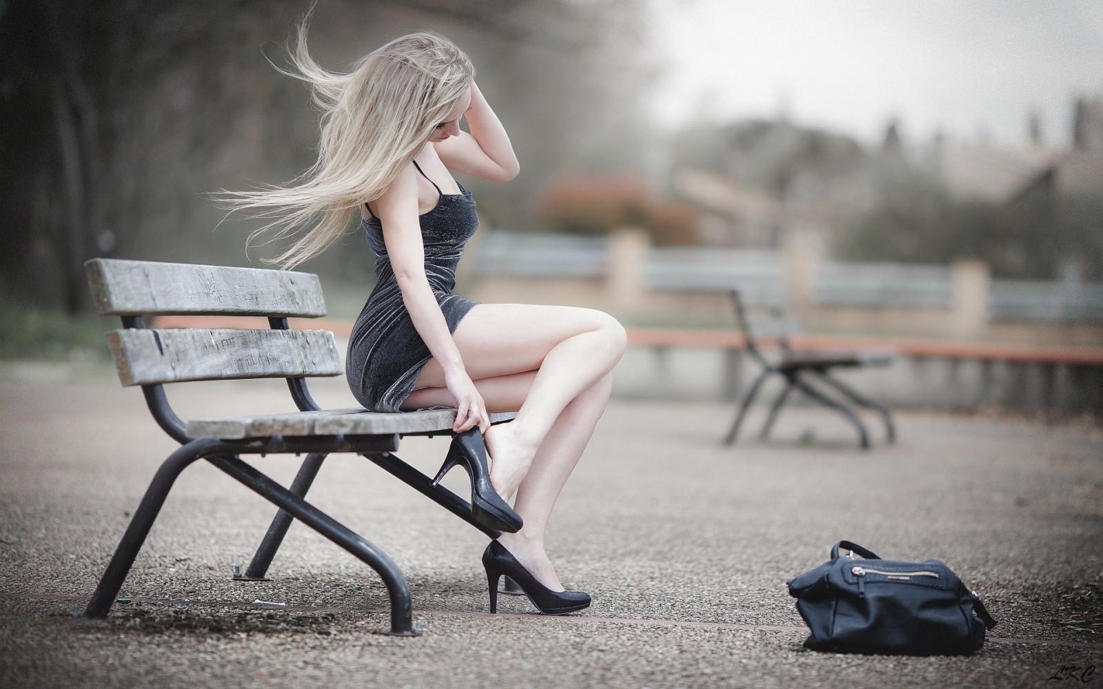 Wallpaper : Laurent Kac, blonde, minidress, women outdoors, upskirt, pale, high heels, bench