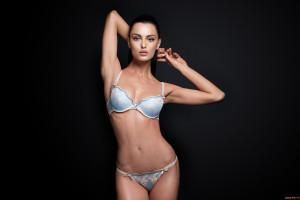 Women Model Simple Background Brunette Photography Arms Up Armpits Bra Lingerie Panties Swimwear Clothing Supermodel Leg