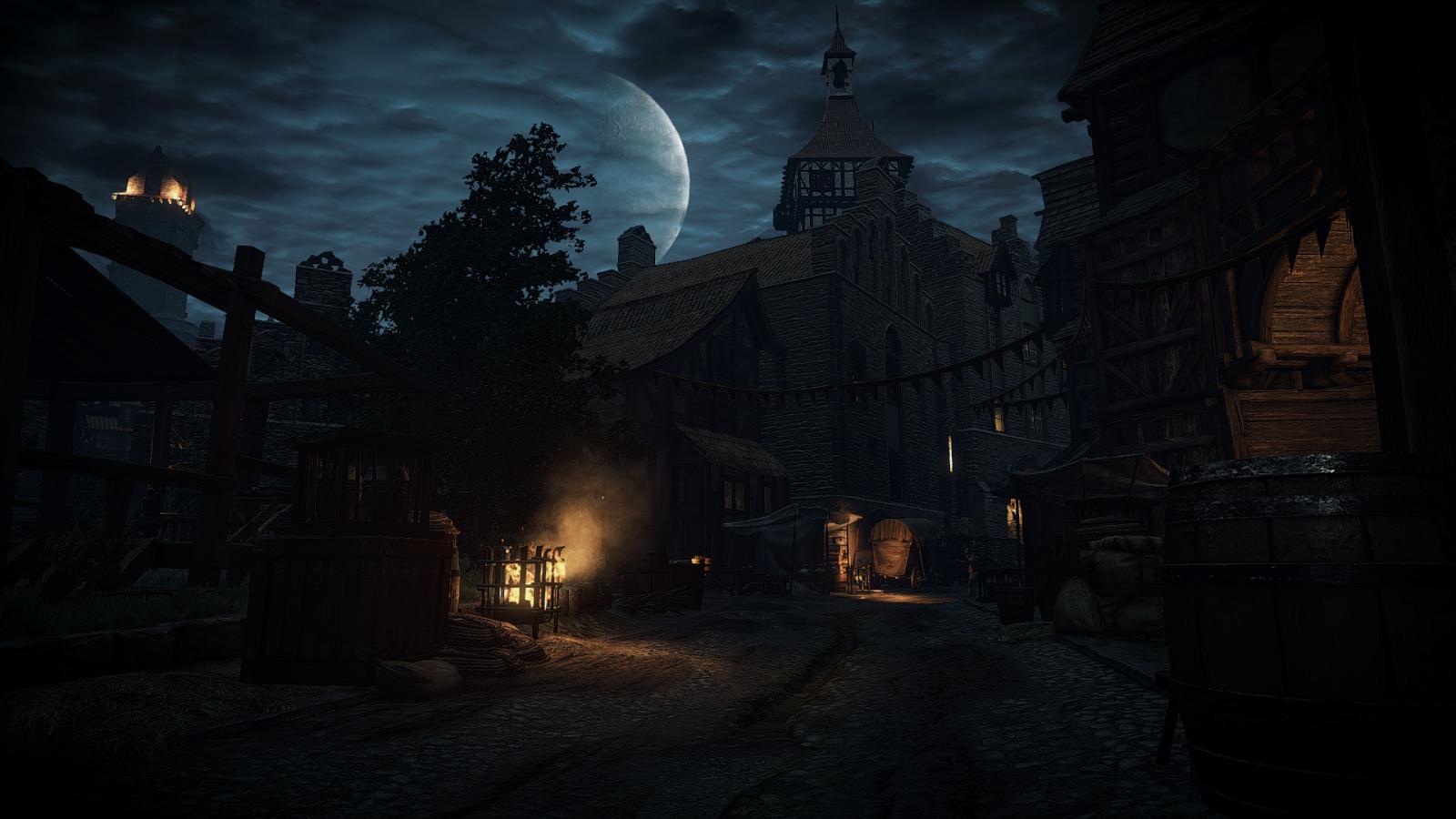 video games night evening The Witcher 3 Wild Hunt midnight darkness screenshot