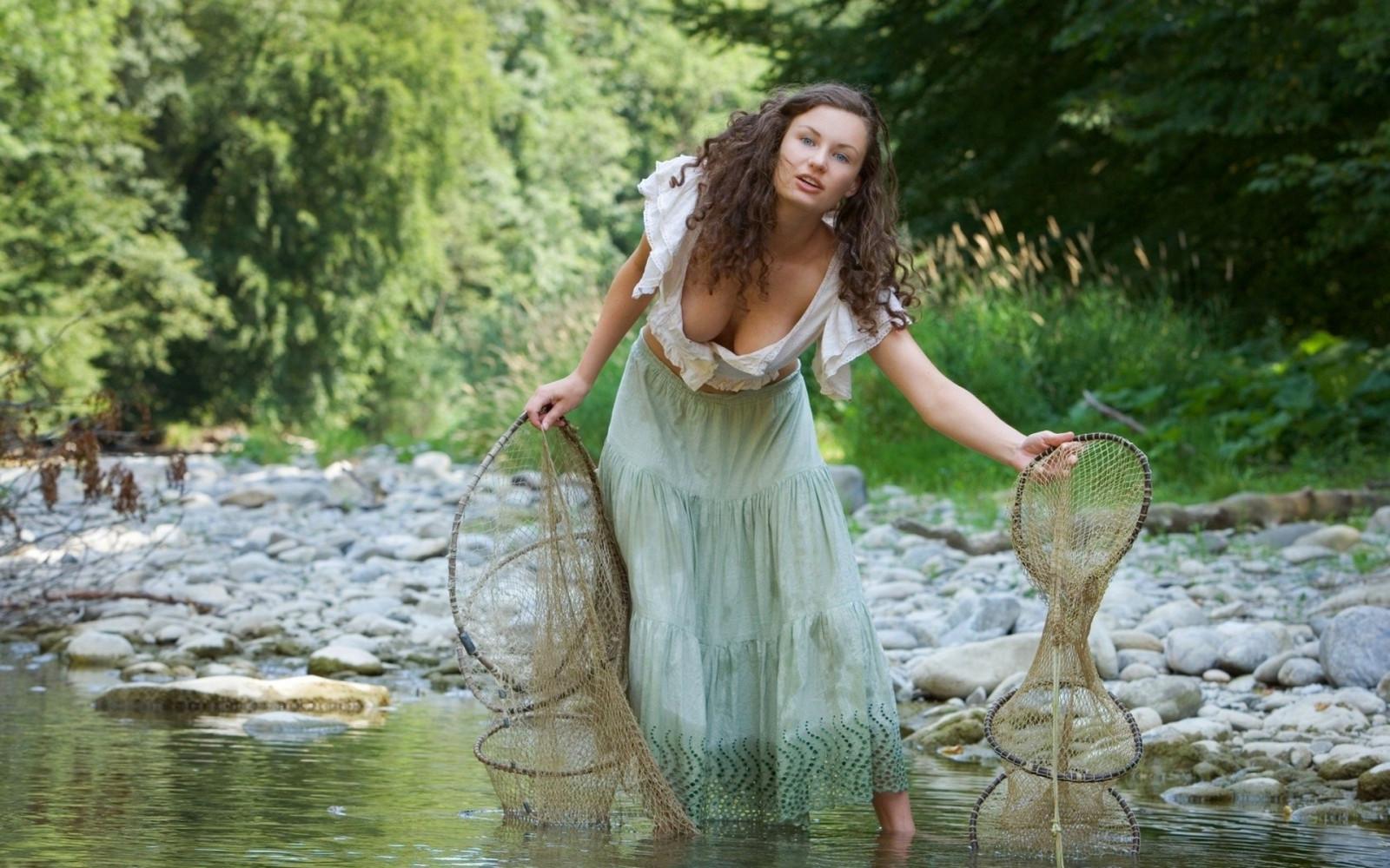 Wallpaper  Trees, Women Outdoors, Model, Long Hair, Blue Eyes, Nature, Brunette, Open -6225
