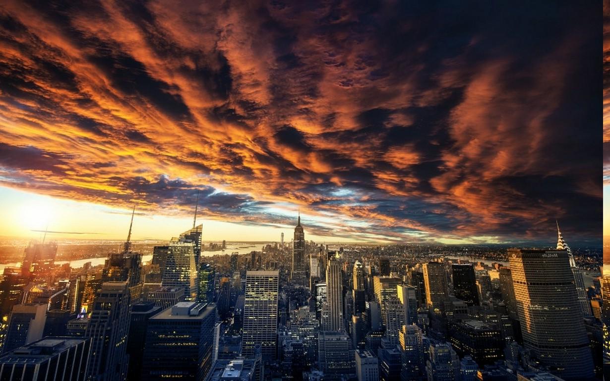 Wallpaper : landscape, sunset, city, cityscape, night, architecture, nature, building, reflection, sky, clouds, sunrise, skyline, skyscraper, evening, ...