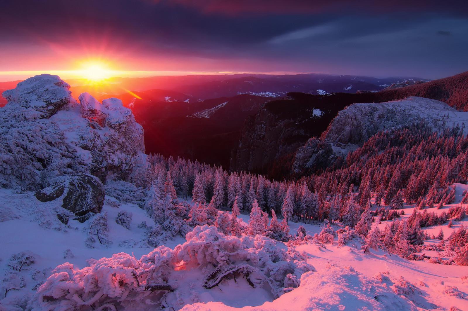 Fond d 39 cran montagnes le coucher du soleil neige hiver lever du soleil soir r gion - Palpitations le soir au coucher ...