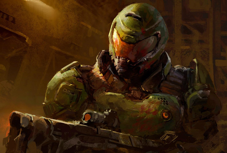 Wallpaper Doom Game Doom 2016 Video Game Art Digital Art Fan Art Fantasy Armor Fantasy Weapon Doom Slayer
