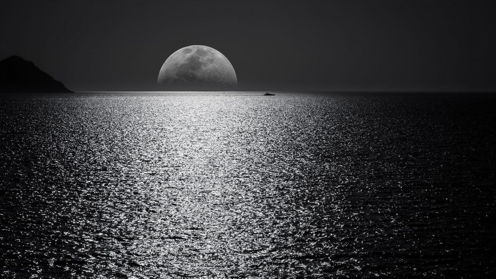τοπίο, θάλασσα, Φεγγάρι, Νύχτα, χαμηλος ΦΩΤΙΣΜΟΣ, σκάφος, σκάφος αναψυχής, ορίζοντας