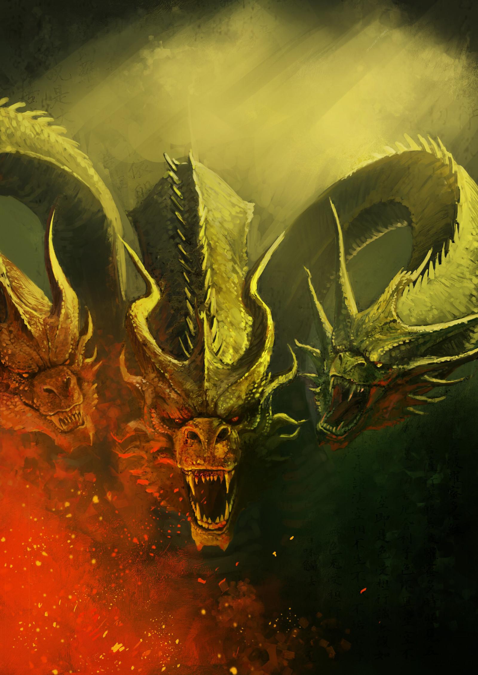 Wallpaper : digital art, artwork, King Ghidorah, Godzilla ...