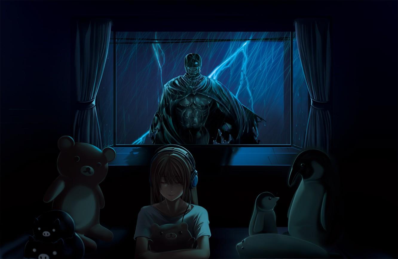wallpaper women window anime girls horror teddy bears blue rh wallhere com