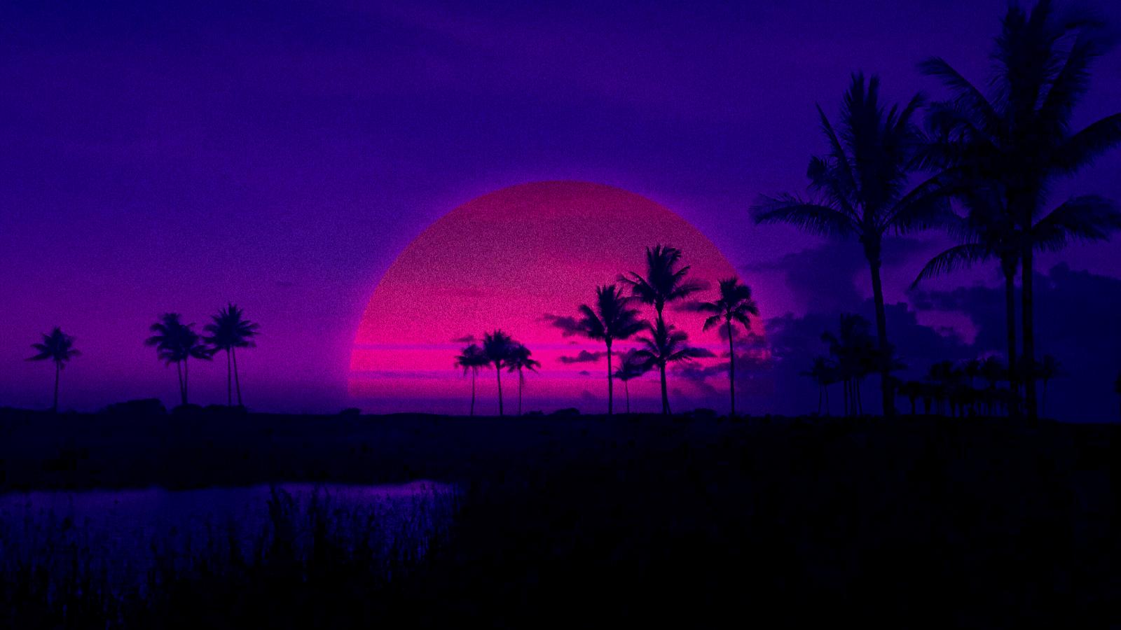 Wallpaper Retrowave Purple Sunset Palm Trees Pink Shadow Dark Background 3024x1701 Celgarta 1422765 Hd Wallpapers Wallhere