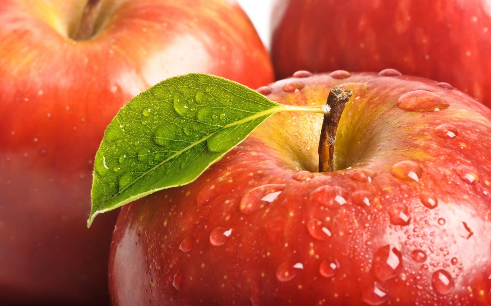 fruit, leaf, red, drop, apple, close up