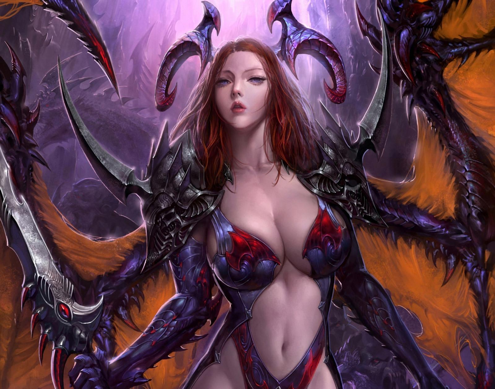 Demon girl boobs wallpaper nude tight slaves