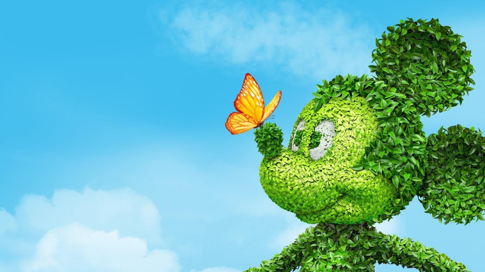 Hintergrundbilder : Mickey Maus, Blumen, Gras, Himmel, Ast ...
