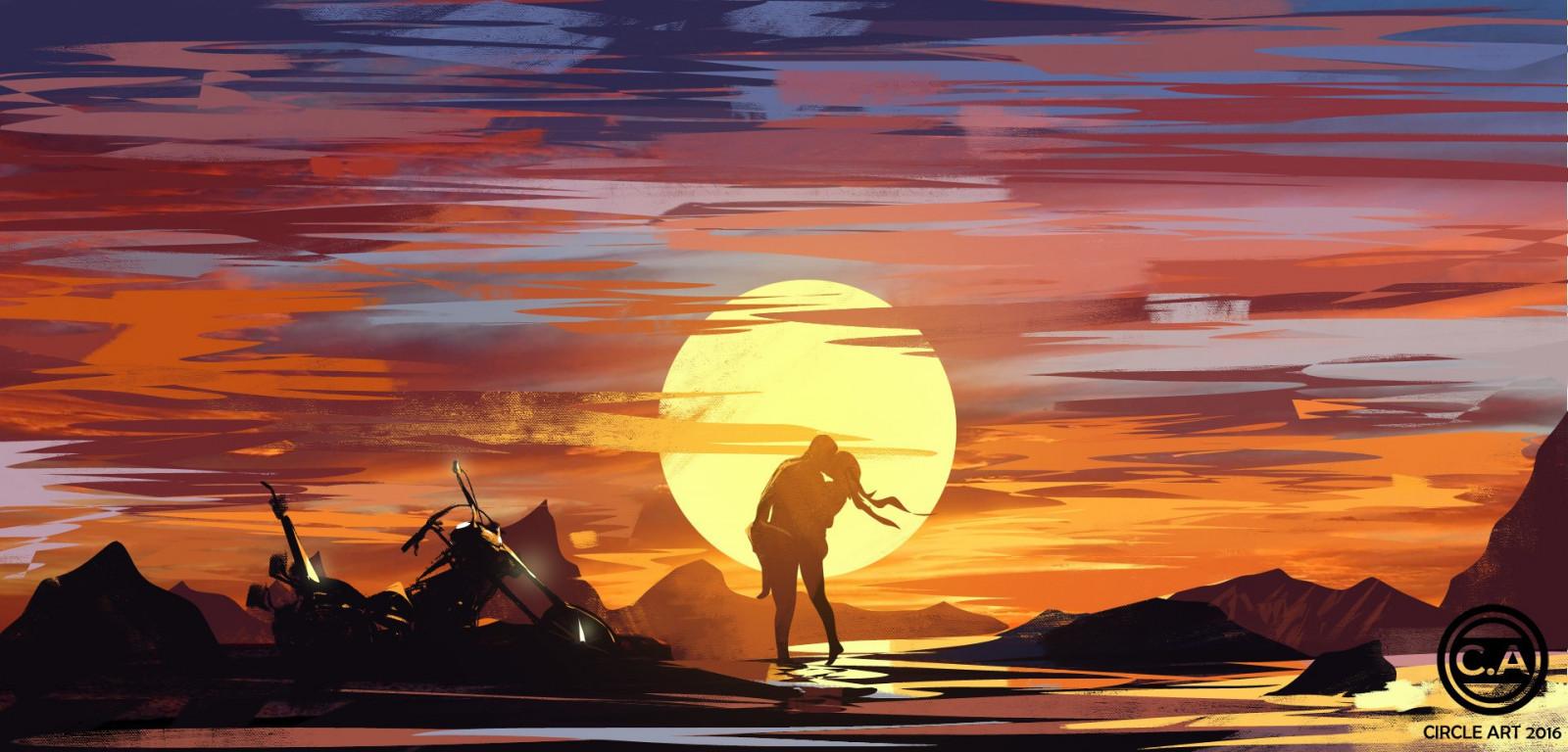 Masaustu Boyama Illustrasyon Gun Batimi Resim Siluet