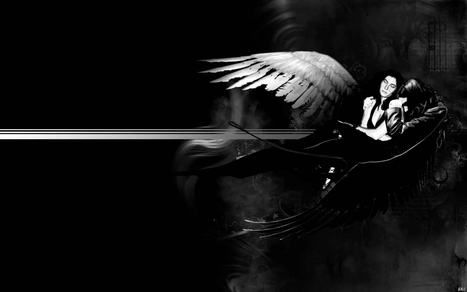 Открытка, картинки ангела с крыльями во тьме