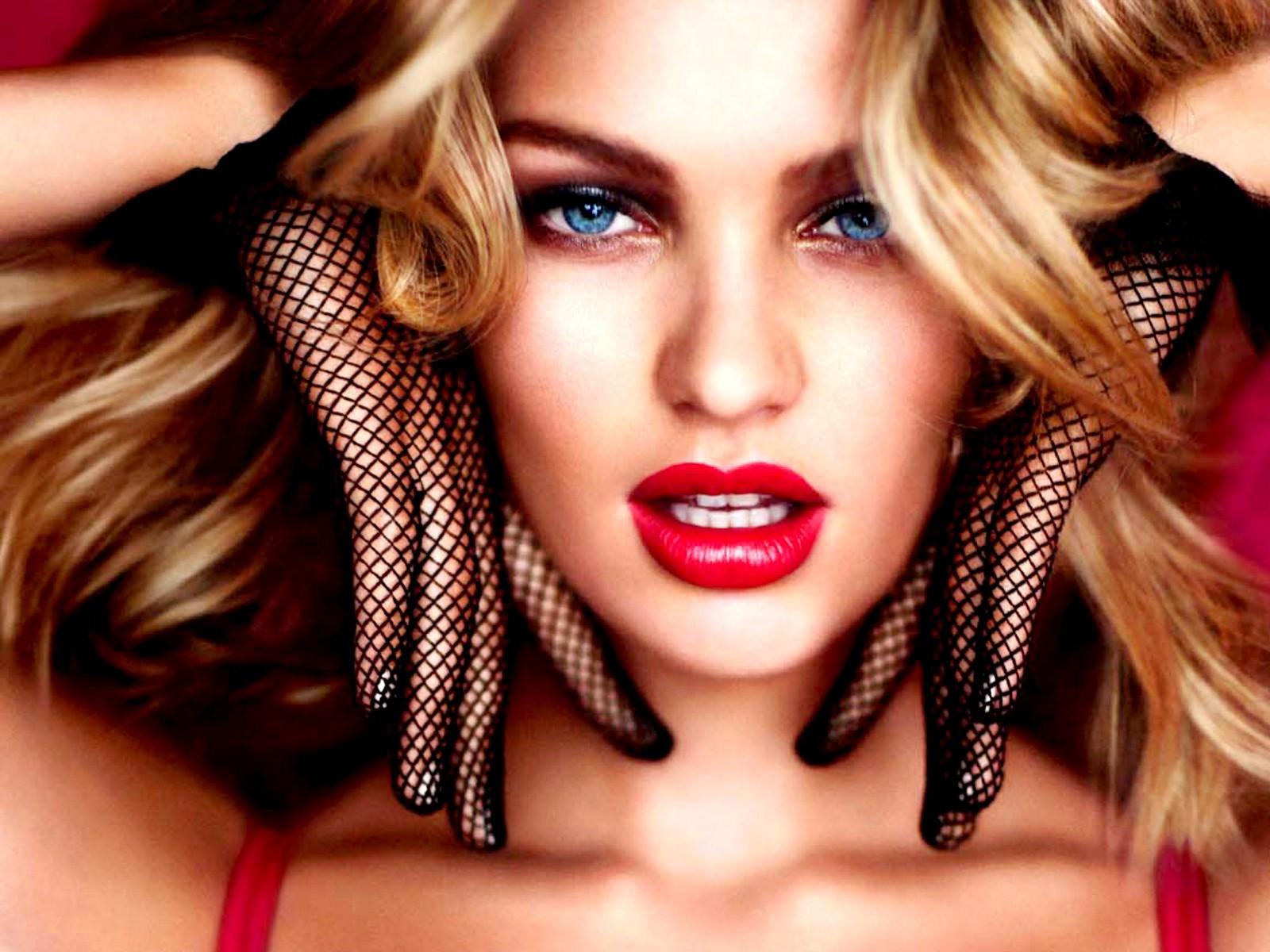 Red Lipstick Brown Hair Blue Eyes: Wallpaper : Face, Women, Model, Blonde, Long Hair, Blue