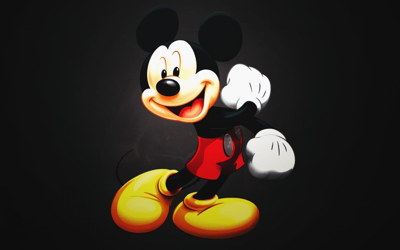 Papel De Parede Ilustracao Mickey Mouse Criancas Amarelo