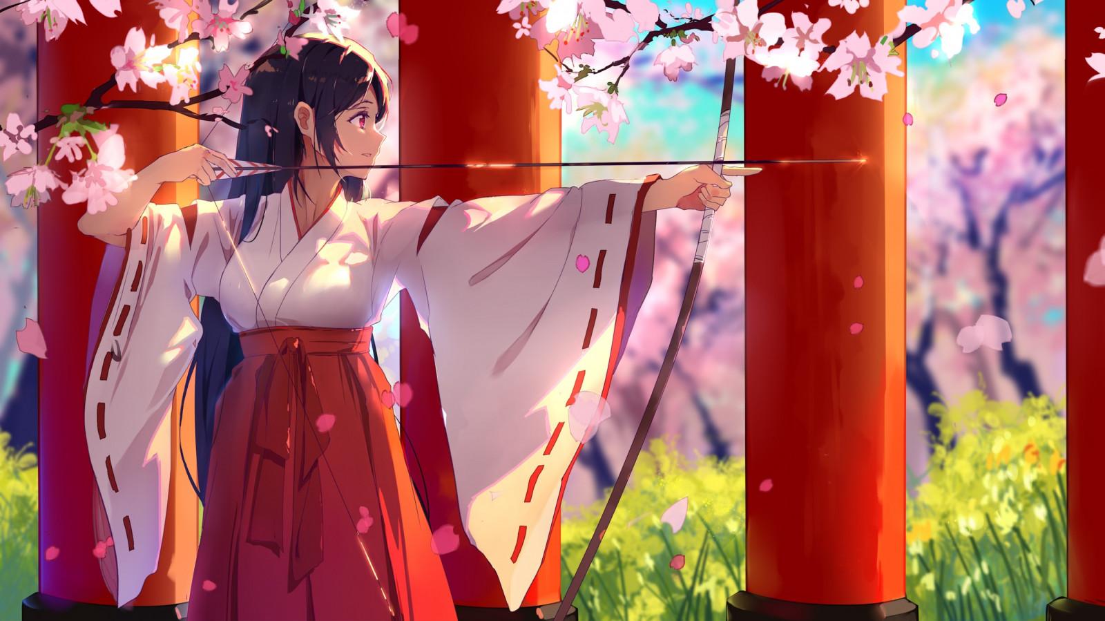 Anime Anime cô gái Brunette cây cung mắt đỏ Hoa anh đào Kimono Nhật Bản Hồng Mũi tên Mùa xuân Miko Màu đỏ tươi Geisha NGHỆ THUẬT hoa thực vật Cánh hoa Trang phục Truyền thống Đồ họa Hình nền máy tính
