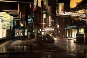 fond d 39 cran rue nuit cyberpunk futuriste route design d 39 int rieur deus ex human. Black Bedroom Furniture Sets. Home Design Ideas