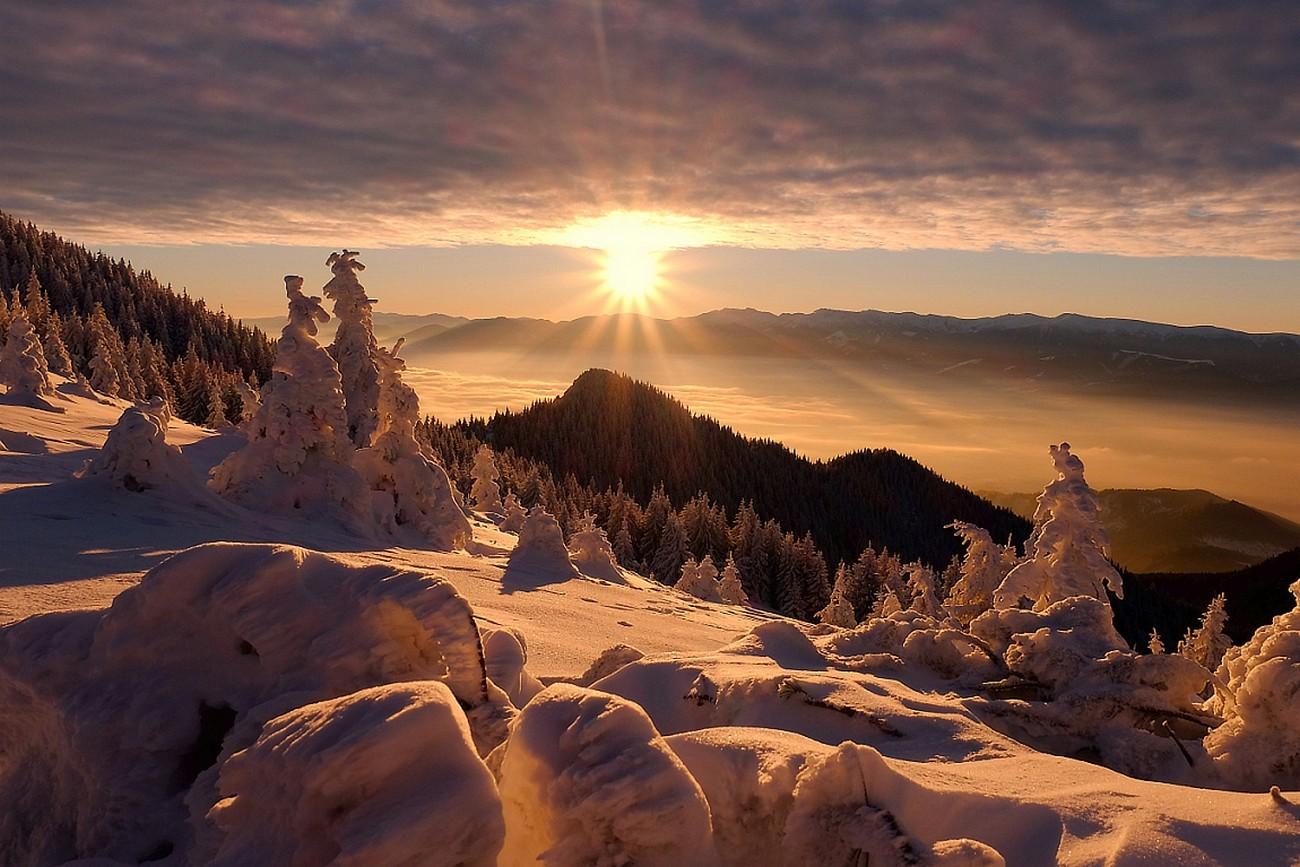 фото солнце в снежных горах зугдиди