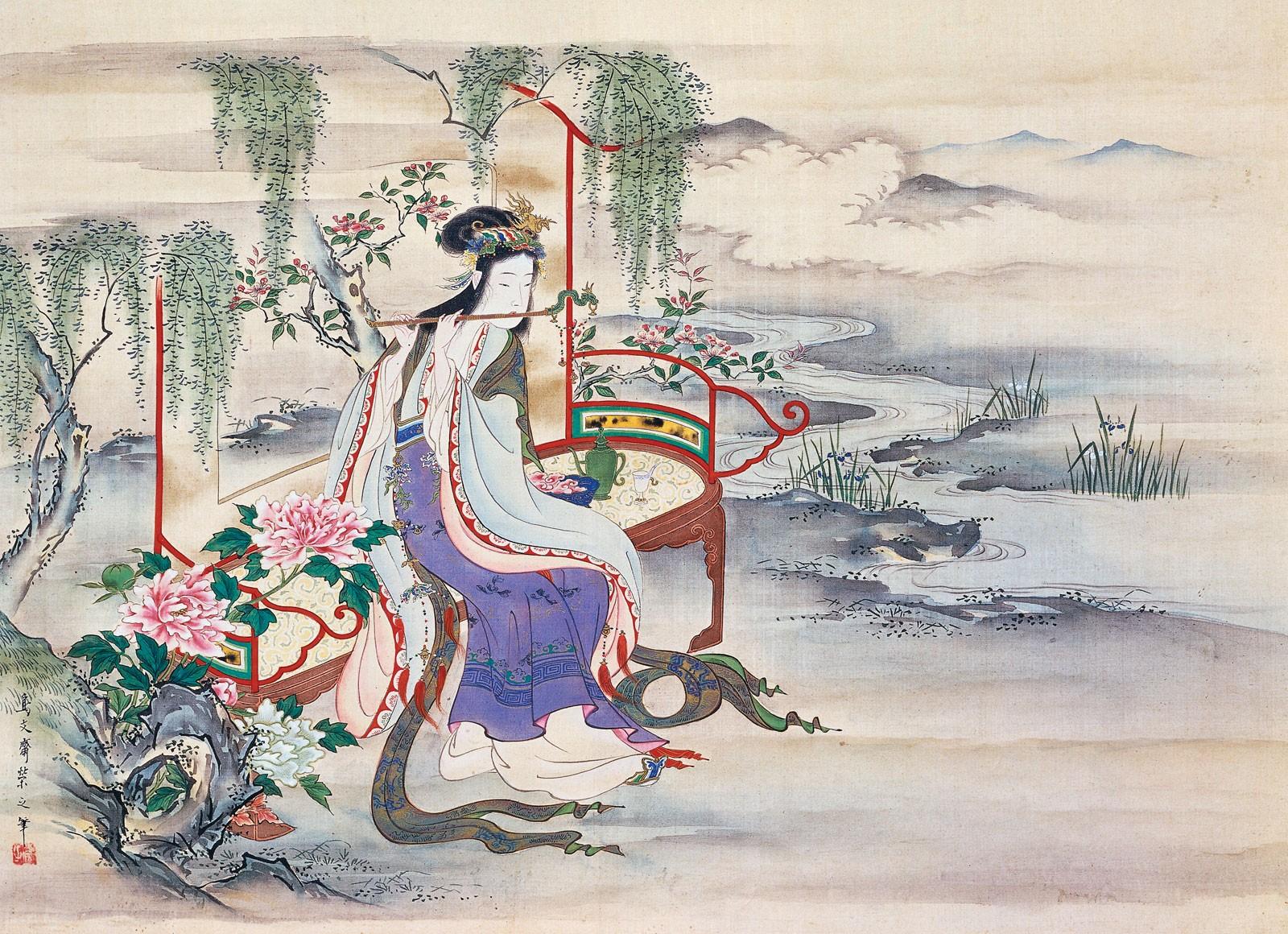 Masaustu Boyama Illustrasyon Resim Geleneksel Giyim Sanat