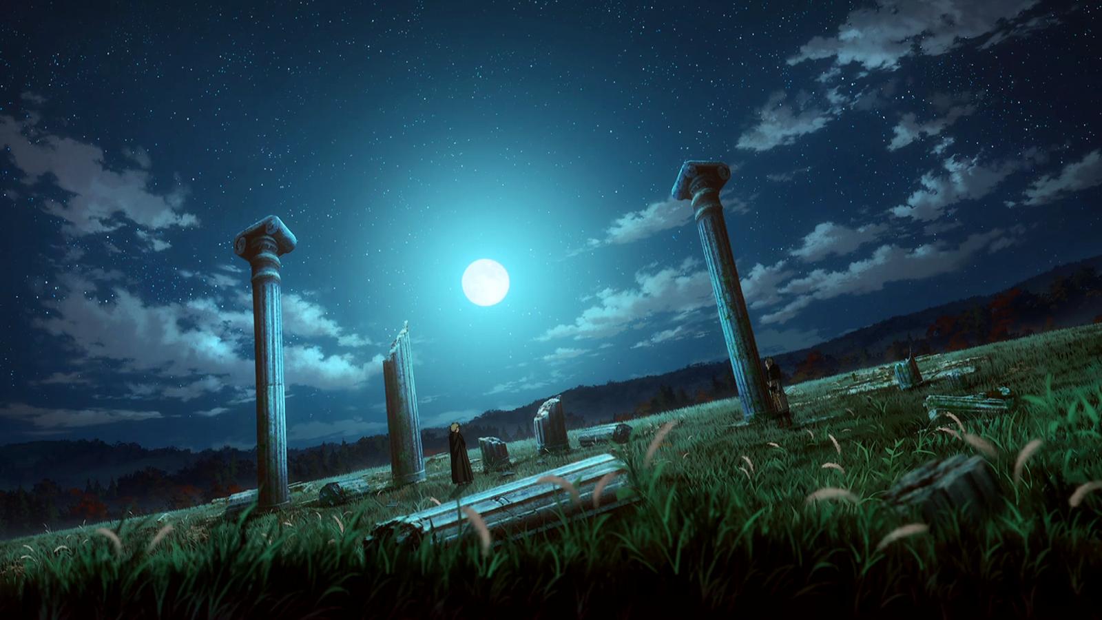 Wallpaper : Vinland Saga, landscape, ruins, night sky ...