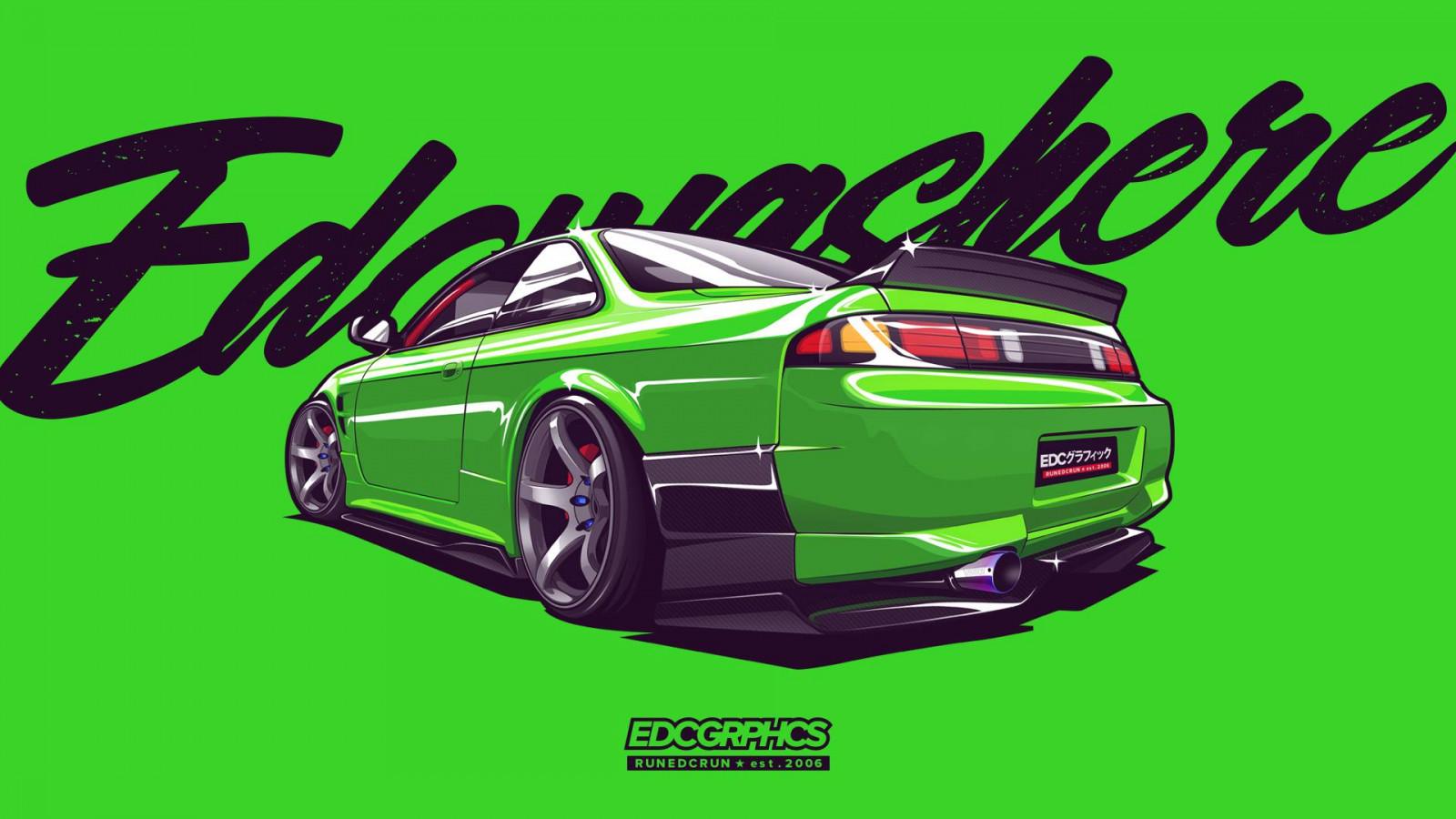 Wallpaper : EDC Graphics, Nissan 200SX, JDM, render ...