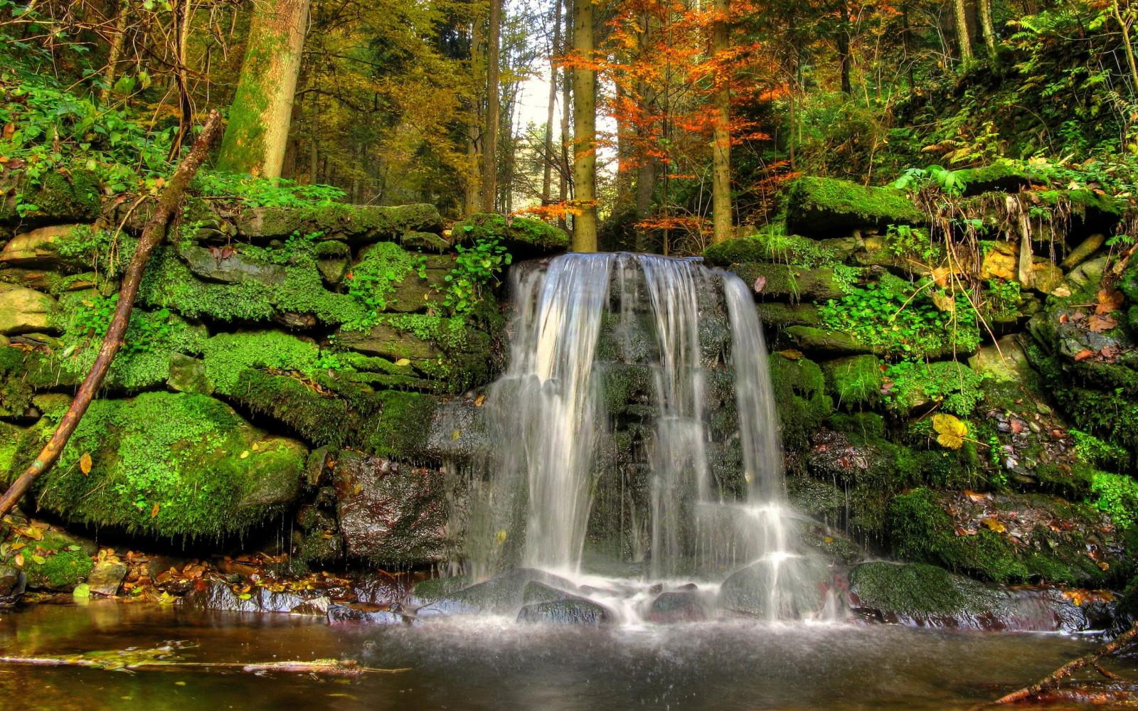 fond decran paysage cascade la nature reflexion