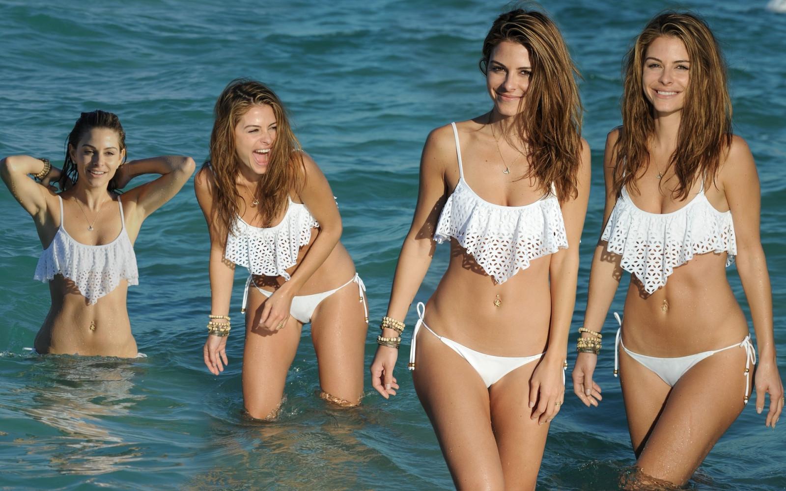 Bikini pictures collage, kinky overalls